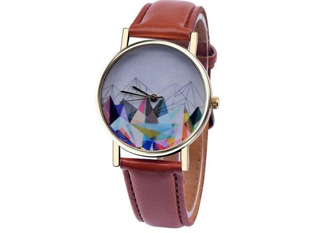 Złoty Zegarek GÓRY GEOMETRYCZNE PASEK GENEVA 24h
